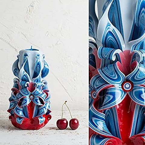 Carved Candle Red Blue - Unique USA Gift - USA Patriotism Gift - Navy Wife - 4th July - EveCandles - Sixteen Lamp Chandelier