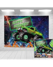 Imirell Monster Car Truck Big Wheels Happy Birthday Backdrop 5Wx3H Feet Light Terrain Vehicle Fabric Polyester Kids Racing Fan ThemePhotography Backgrounds Supplies Photo Shoot Decor Props Decoration