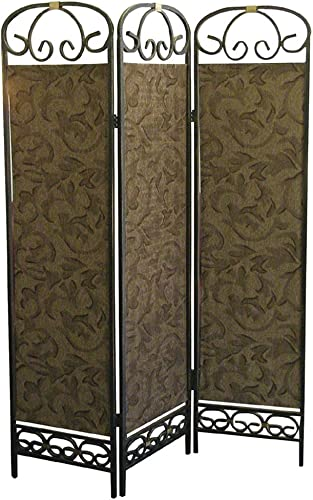 ORE Furniture International 3-Panel Room Divider, Antique Gold
