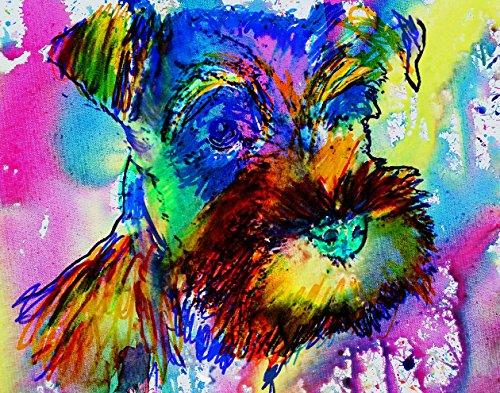 Vibrant Colorful Miniature Schnauzer Watercolor Painting Wall Art Print, Cute Schnauzer Puppy Art, Miniature Schnauzer Mom Gift, Dog Wall Art Print, Schnauzer Dog Painting, Wall Hanging Art