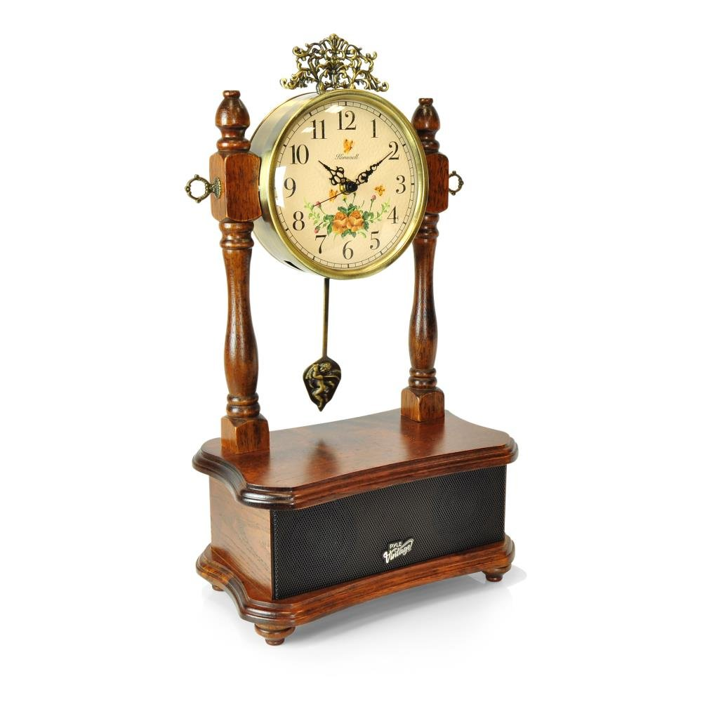 Pyle 2-in-1 Vintage Style Clock, Retro Bluetooth Speaker, Tabletop Clock, Handcrafted Birchwood, Quartz Clock, USB Charging, Full Bass Sound System, Built-in Speakers, 25 Watt, Brown (PVNTLCL51BT) by Pyle