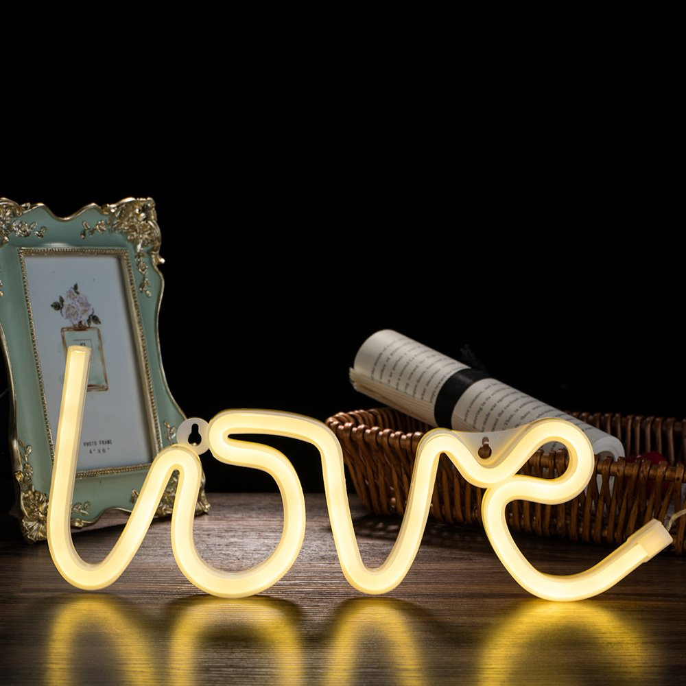 Qunlight Neon Night Light Love Shaped with Warm White Lamp USB & Battery Powered no Heat Hanging for Wedding Sign,Wall Decor,Birthday Party,Camping,Kids Room, Living Room,Bedroom,Bar(Warm White Love)