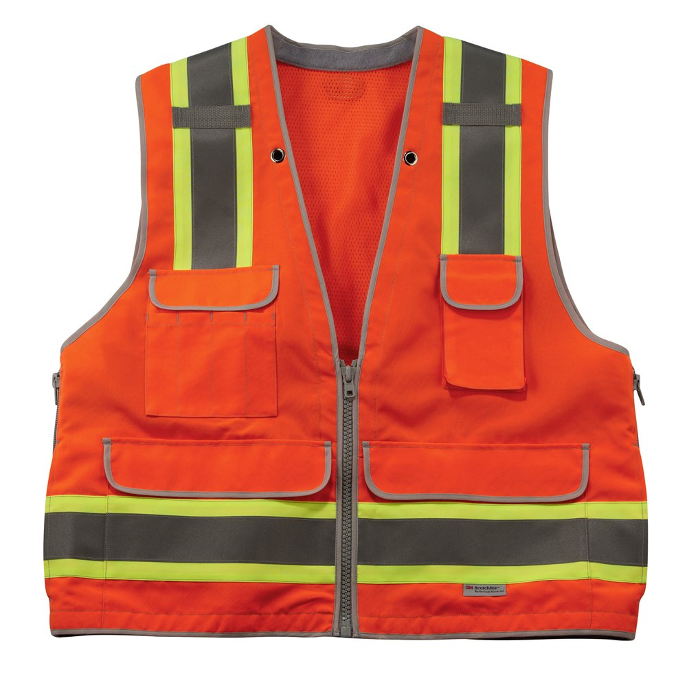 Ergodyne GloWear 8254HDZ Class 2 Heavy-Duty Surveyors Safety Vest,Orange, 2XL/3XL