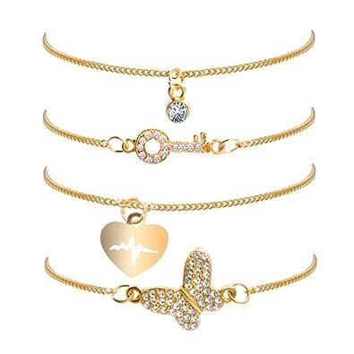 857cf258c81 LUOEM Bracelet Set Multi Style Bracelets Plaqué Bijoux Accessoires pour  Femmes 4 pcs