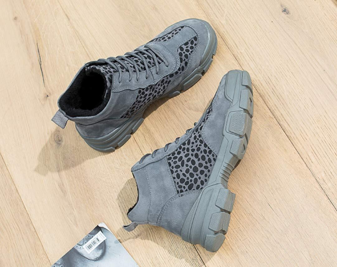 LIANGXIE LIANGXIE LIANGXIE Mujer Mujeres Top Plataforma Zapatillas Botas/Tobillo Invierno Botas Ecuestre Invierno Gruesa Suela Cordones Zapatillas tamaño Alta Ayuda Leopardo impresión Casual Botas,Gris,37 0baca3