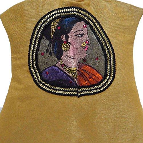 Seda Diseñador Blend Potli Bolsa Beige Tradicional Hecha A Mano Del Embrague De Las Mujeres Del Bolso Beige