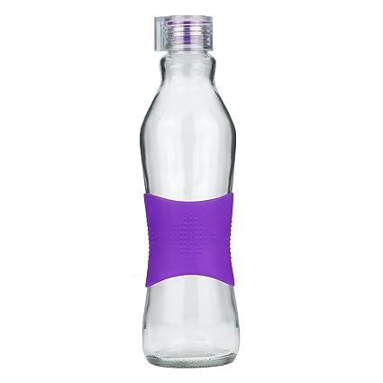 Grip & Go 1.0L Cristal Agua Botella/Combi – Mango de Silicona – Tope antideslizante de silicona, cierre traslúcido, vidrio, violeta, 1 L