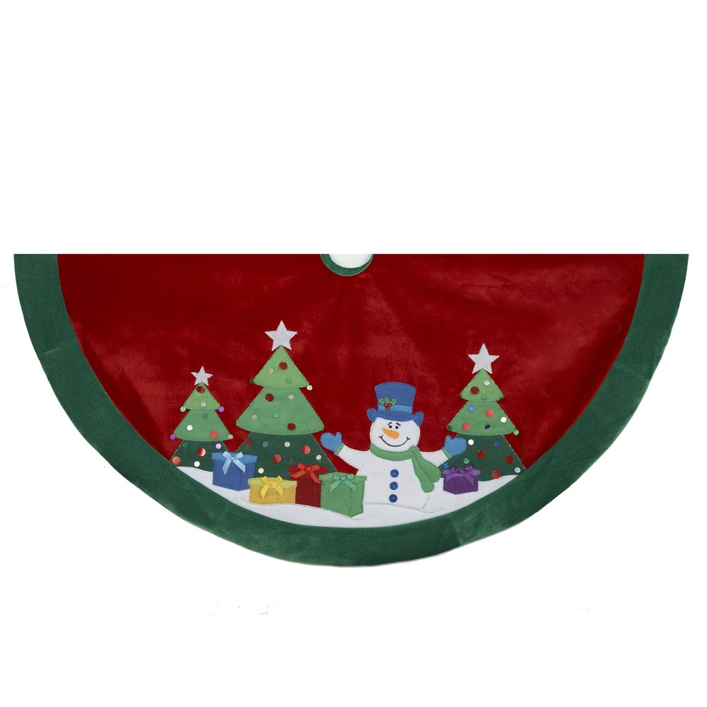 Kurt Adler Snowman And Trees Applique And Embroidered Treeskirt 48-Inch 2