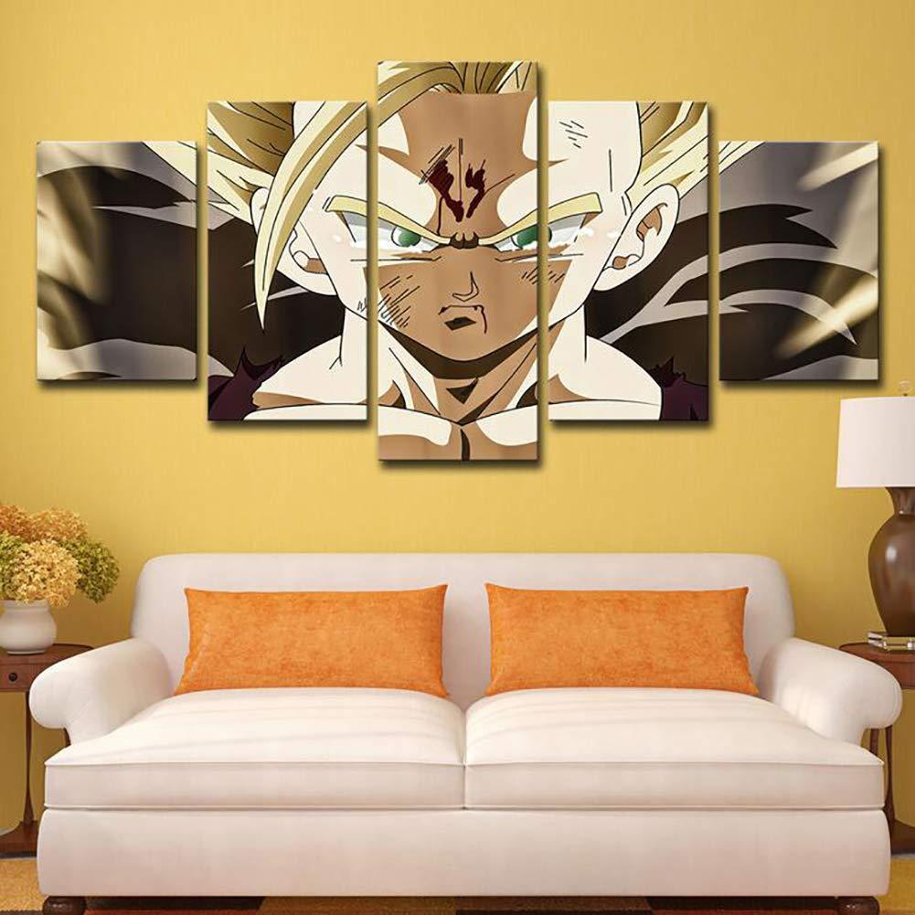 SHANGLY Impresi/ón en Lienzo 5 Paneles Pintura Mural Decoraci/ón del hogar Dragon Ball Anime Gohan HD Cartel para la Sala de Regalo de los ni/ños,A,8x12 x2+8x16 x2+8x20 x1