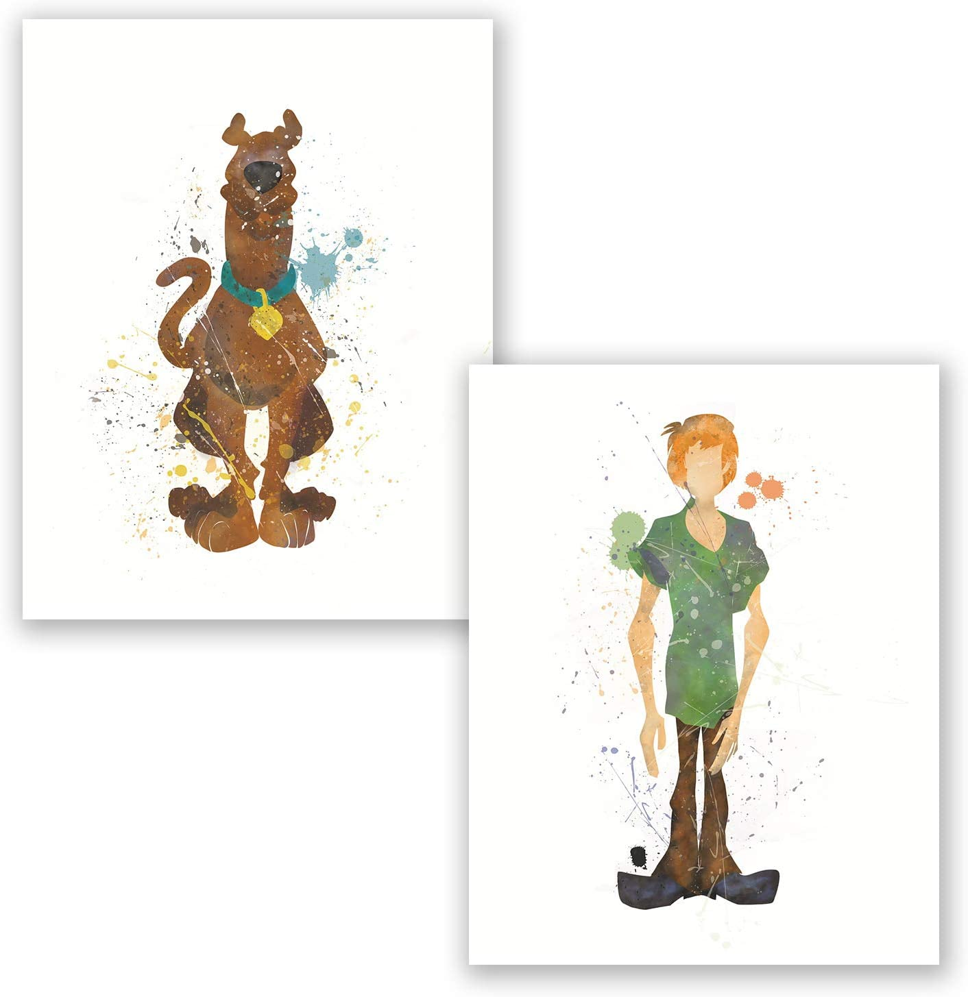 PGbureau Scooby Doo Poster - Norville Shaggy Rogers - Set of 2 Prints - Bedroom Watercolor Wall Art Decor - Birthday Gift for Kids (8x10)