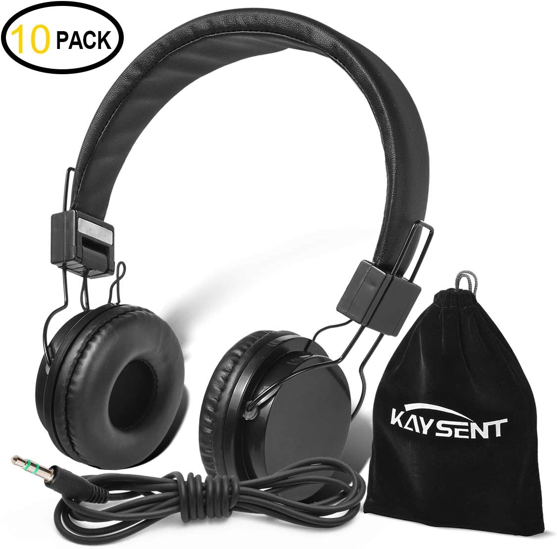 Kaysent Heavy Duty Headphones Set for Students – KHPB-10B 10 Packs Classroom Kids Headphones for School, Library, Computers, Children and Adult No Microphone