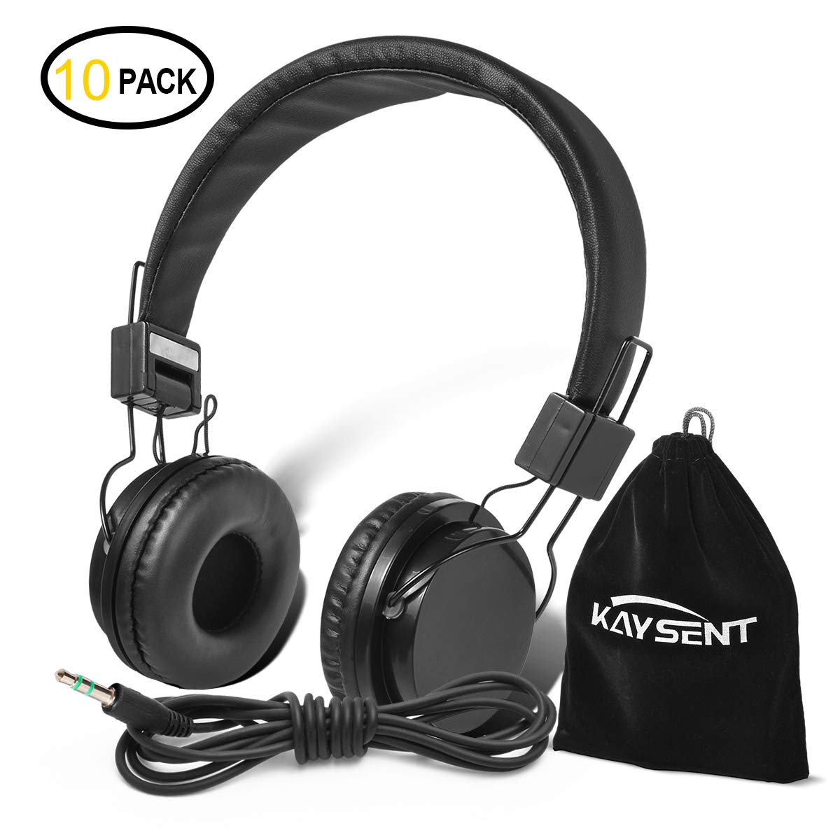 Kaysent Heavy Duty Headphones Set for Students - (KHPB-10B) 10 Packs Classroom Kids' Headphones for School, Library, Computers, Children and Adult(No Microphone)