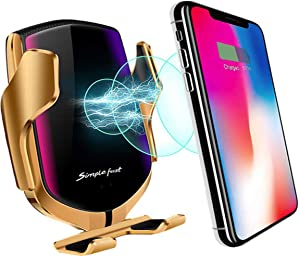 10W Wireless Car Charger Phone Mount, Universal Car Mount Phone Holder Universal Fast Charging Compatible with iPhone 12/11/Pro/Max/Xr/Xs/X/8/Plus, Samsung Galaxy S10/Note 10/S9/S8 and Else (Gold)