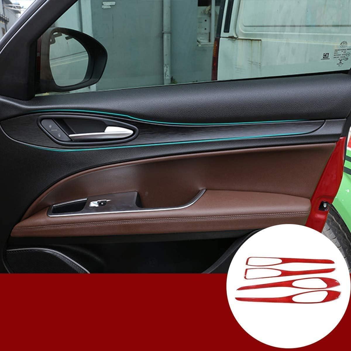 カーアクセサリー炭素繊維の赤いドアインテリアハンドル装飾パネルに適していますアルファロメオステルヴィオ2017-2019 BONGZUO