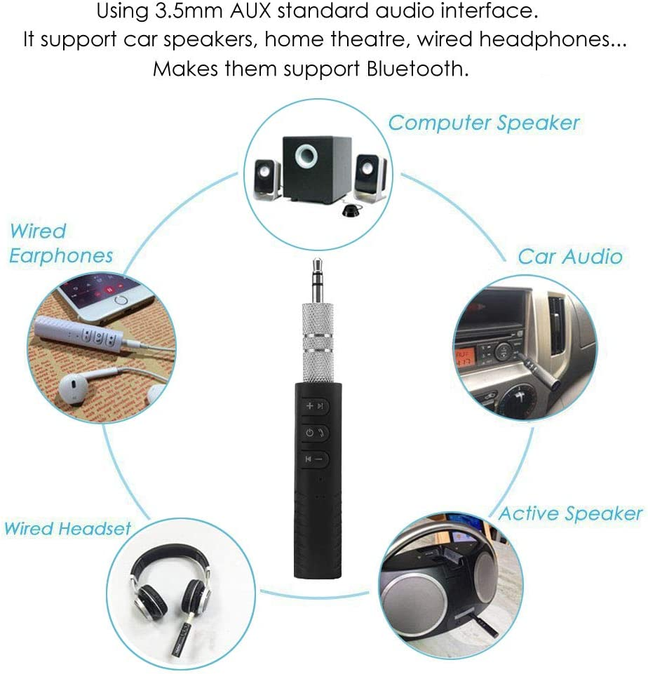 Smartphone Compatible Bluetooth 5.0 Audio Receiver Car Kits /& Mini 3.5mm AUX Wireless Audio Adapter Car Audio Speaker Mini Home Stereo Black Bluetooth Adapter Receiver