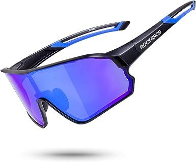 Amazon.com: ROCK BROS Polarized Sunglasses for Men Women UV Protection  Cycling Sunglasses Bike Sports Glasses Fishing Running Driving (Black  Blue): Clothing