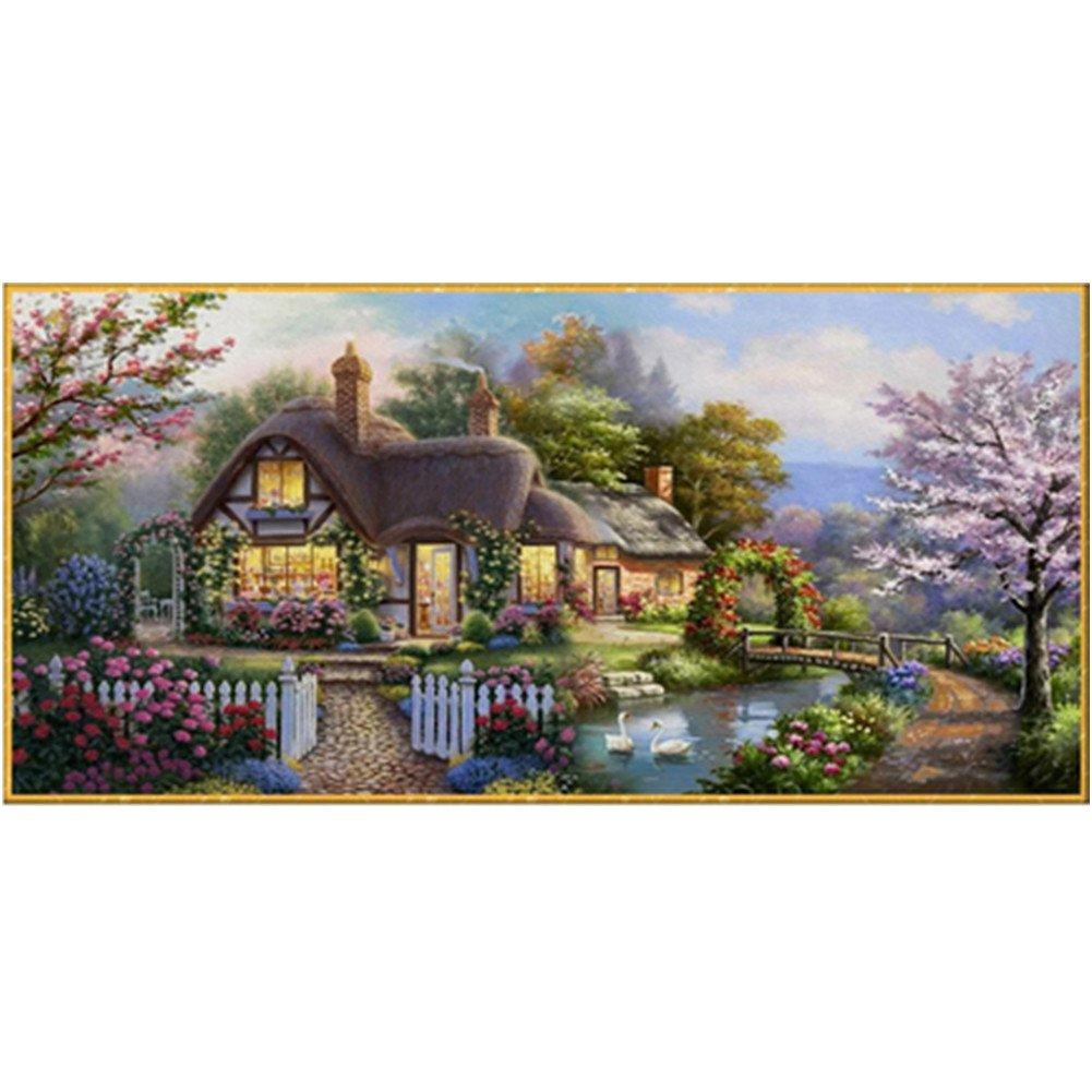 Labellevie Needlework Crafts Full Embroidery Counted Cross Stitch Beautiful Garden House Counted Cross Stitch Embroidery 59×29