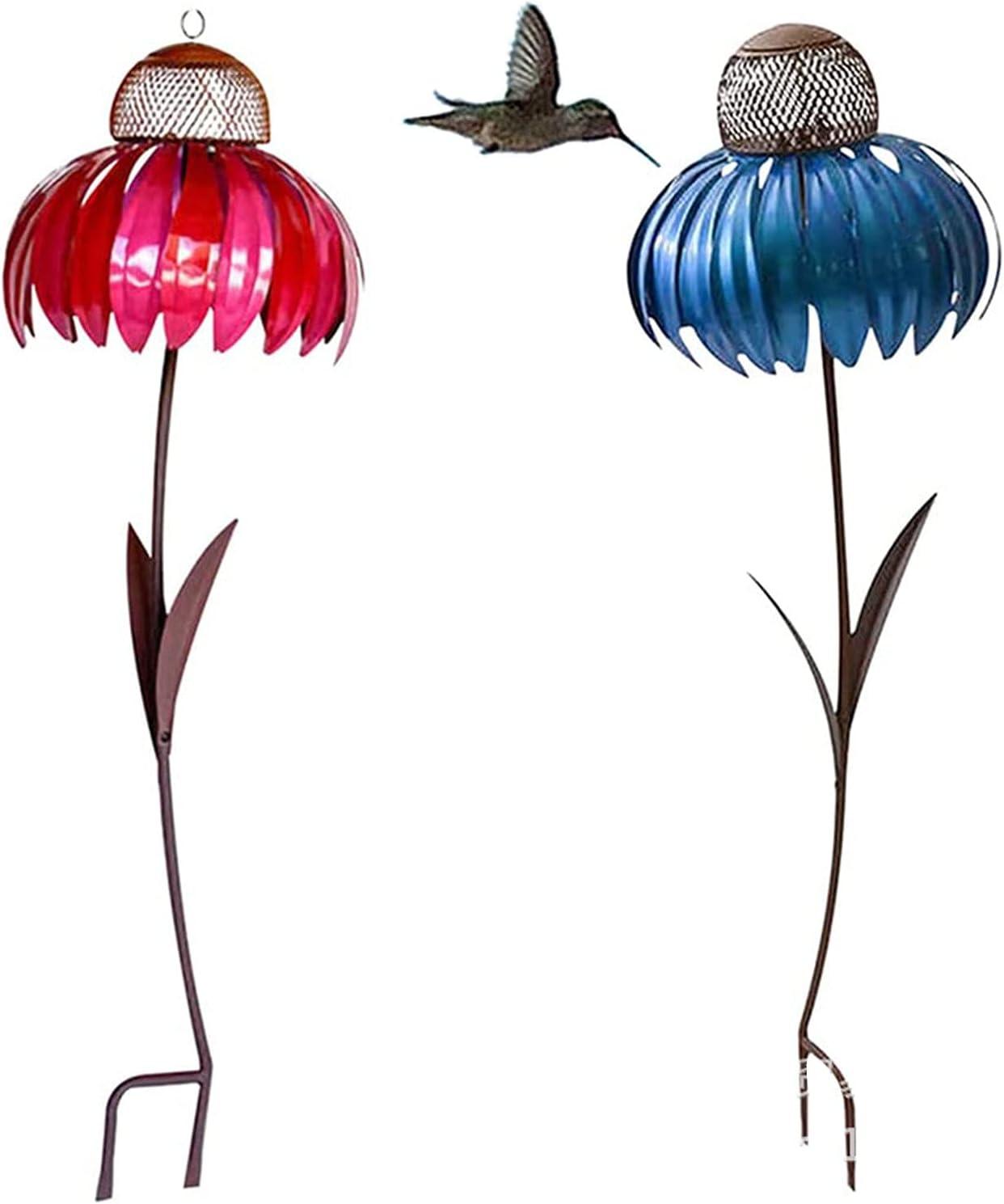 2PC Coneflower Outdoor Standing Bird Feeder Outside Rust Resistant Metal Garden Art Flower Stakes Stand with Food Bowl Wild Bird Feeder for Bird Watching Garden Decoration (Red&Blue)