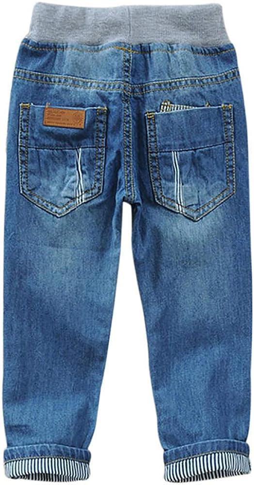 Drawstring Waistband Boys Jeans Denim Pants Straight Fit Denim Pants for Kids Blue