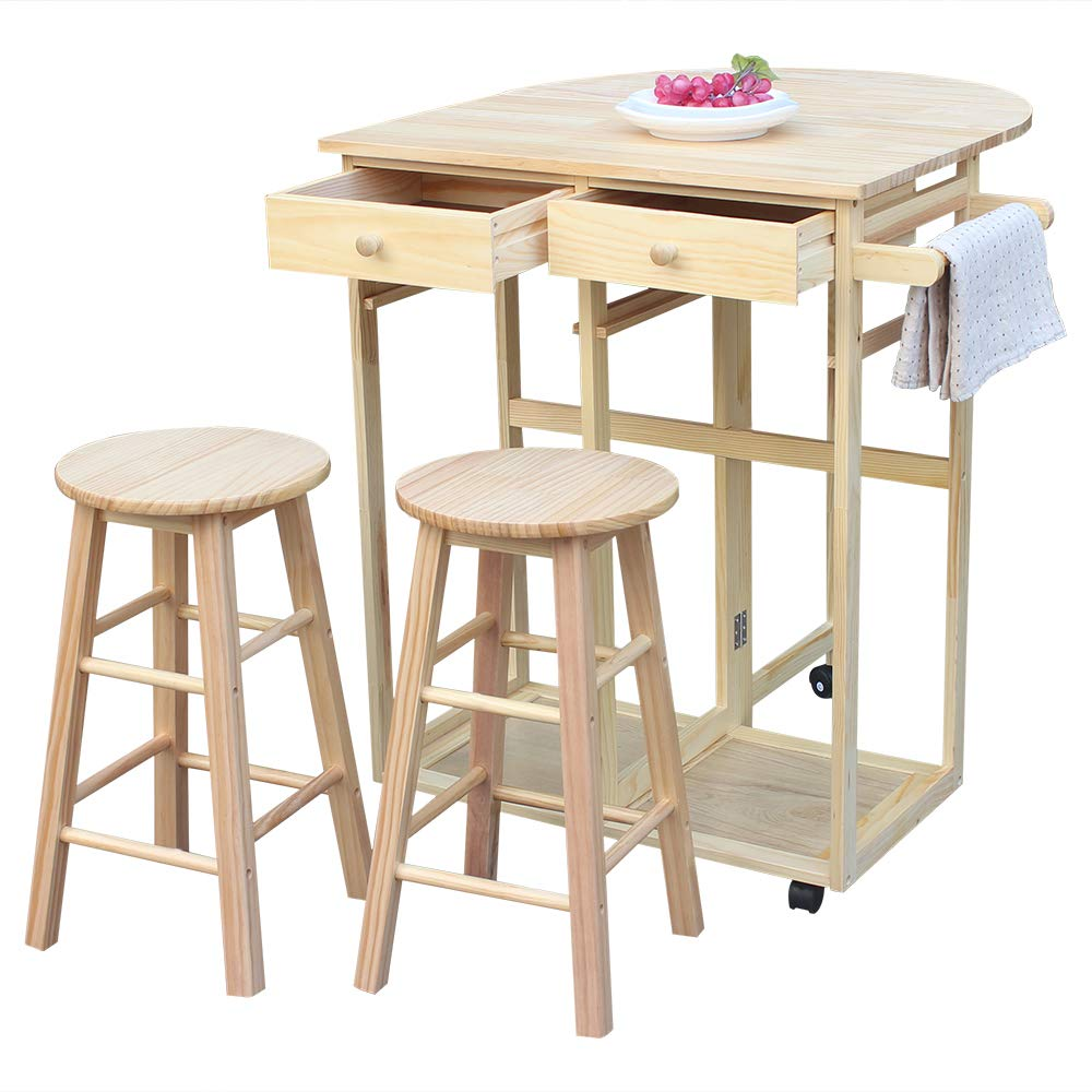 Binlin Rolling Kitchen Island with Seating 3pcs Dining Table Set with 2 Stools, Wood Drop Leaf Breakfast Cart Table and Chair, Space Saving Foldable Kitchen Table On Wheels with 2 Drawers - Wood Color