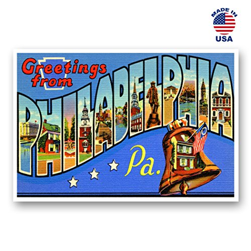 GREETINGS FROM PHILADELPHIA, PA vintage reprint postcard set of 20 identical postcards. Large letter Phila, Pennsylvania state name post card pack (ca. 1930's-1940's). Made in USA.