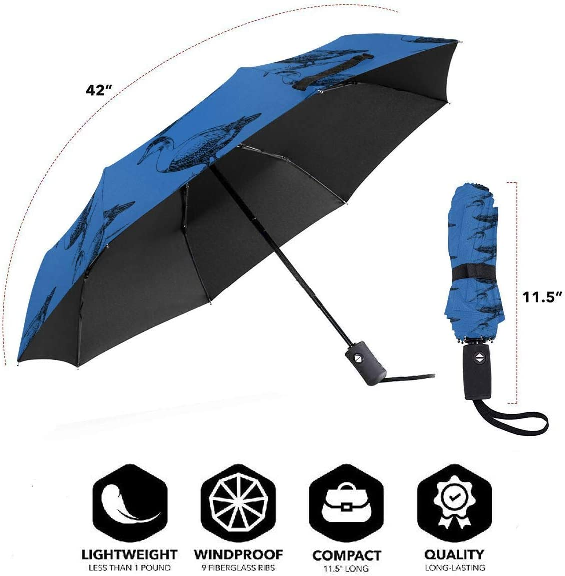Ugly Duck Automatic Tri-Fold Umbrella Parasol Sun Umbrella Sunshade