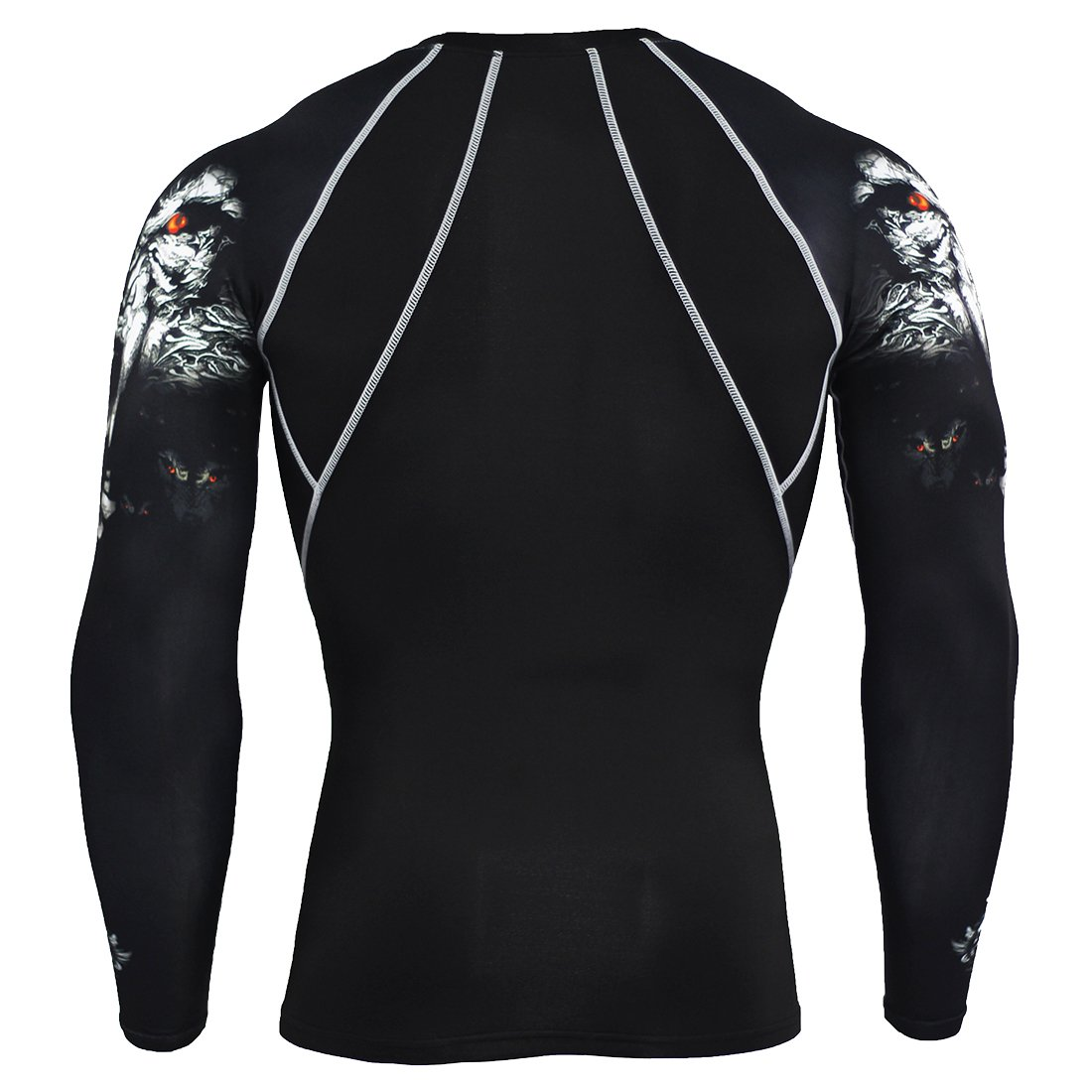 1Bests Men Fitness Compression Tight Skin Shirts MMA Long Sleeves 3D Prints Rashguard Fitness Base Layer T-Shirts