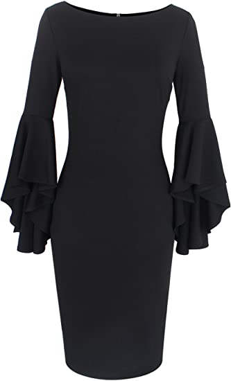 Women's Ruffle Bell Sleeves Cocktail Party Bodycon Sheath Dress