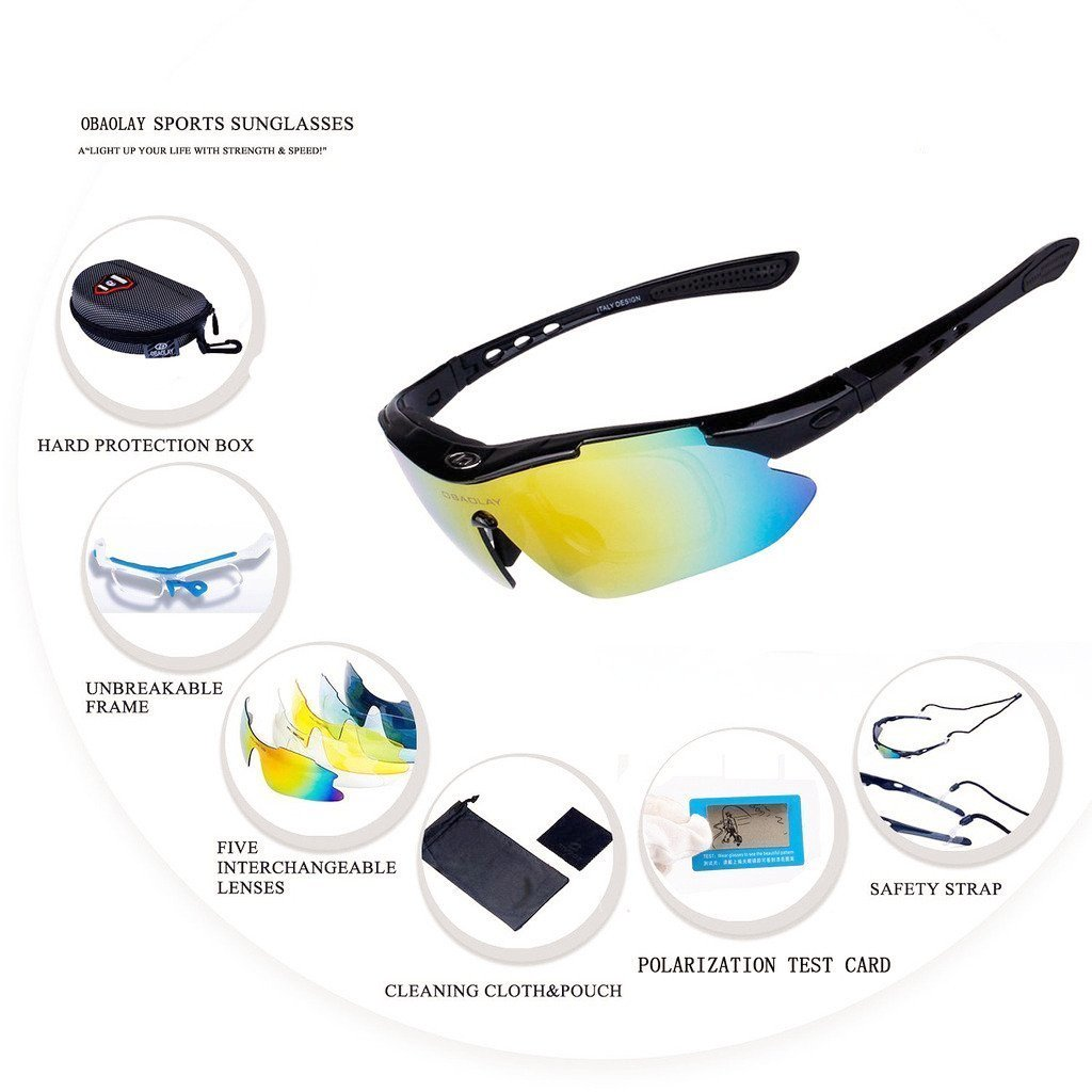 893c5d0085821 GEBANG Obaolay SP0868 Polarized UV Protection Sunglasses for Man Women  Outdoor Sports Cool Goggles with 5 Interchangeable Lens for Bicycling