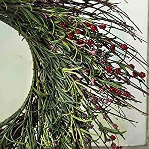 Factory Direct Craft Artificial Grass and Red Burgundy Wildflower Twig Wreath for Home Decor, Displaying and Designing 1