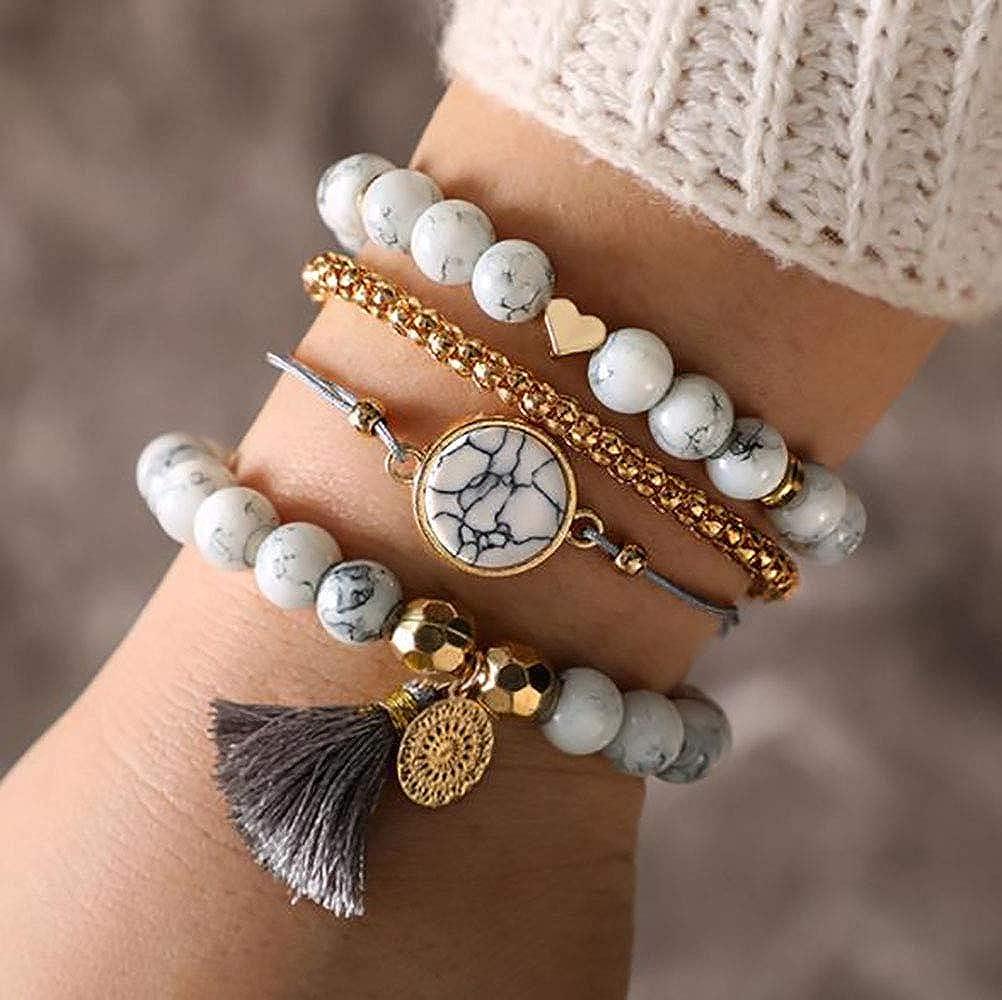Edary Tassel Bracelet Set Bracelets en marbre blanc Coeur Accessoires pour les mains Cha/îne /à main perl/ée r/églable pour femmes et filles 4 pi/èces