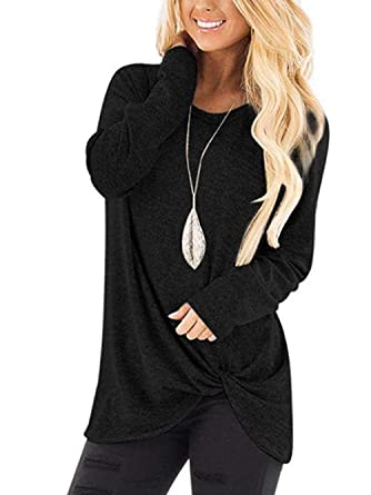 f434739119e2c Olidarua Women s Casual Long Sleeve Tops Plain Round Neck Loose Fit Shirts  Blouse Sweatshirts