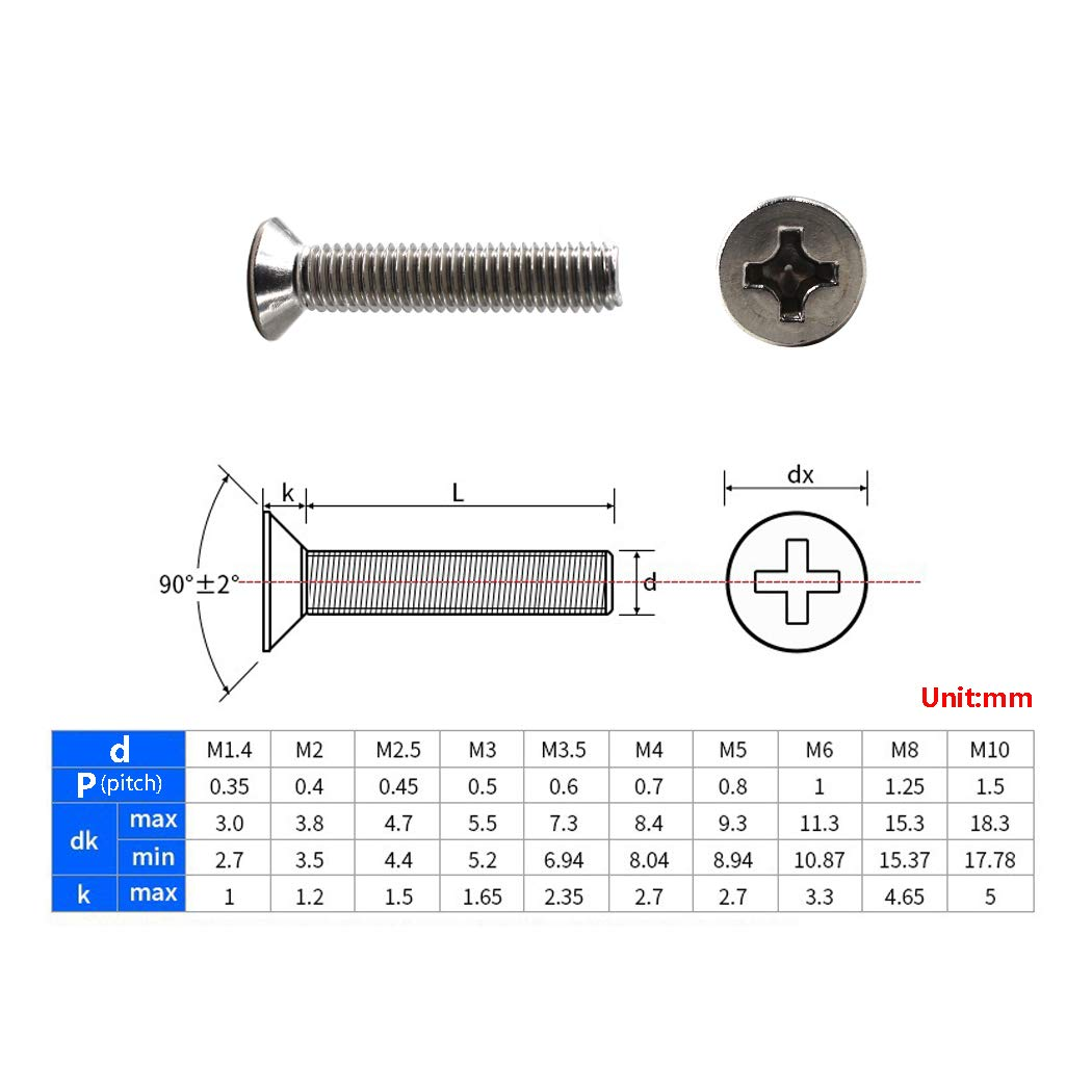 Pack of 100 M4x20 Phillips Screws 304 Stainless Steel Flat Head Machine Screws Countersunk Screw