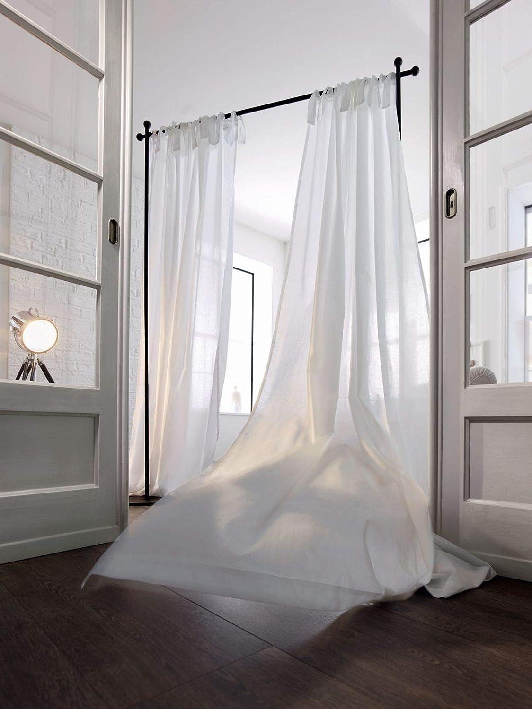 b66b66cfa14 Pureday Sheer White Voile Tie Top Curtains