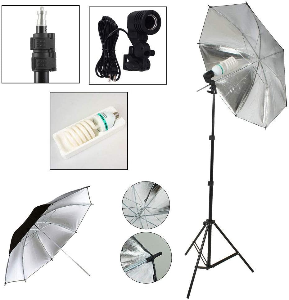 VOLKWELL 1080W 5500K Lamp Bulbs Light Daylight Umbrella Continuous Lighting Kit for Photo Studio Product Background Support System with 2 Muslin backdrops