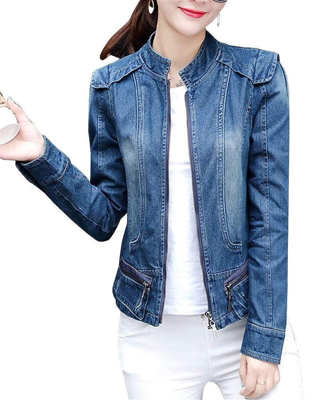 Emmala Autunno Collo Coreana Zip Jeans Giacca Donna Eleganti Manica Lunga Jeans Giacca Casuale Fidanzato Outerwear Cappotto Denim