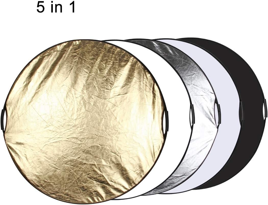 Folding Photo Studio Reflector Board Durable Color : Color1 JINGZ 110cm 5 in 1 Silver//Translucent//Gold//White//Black