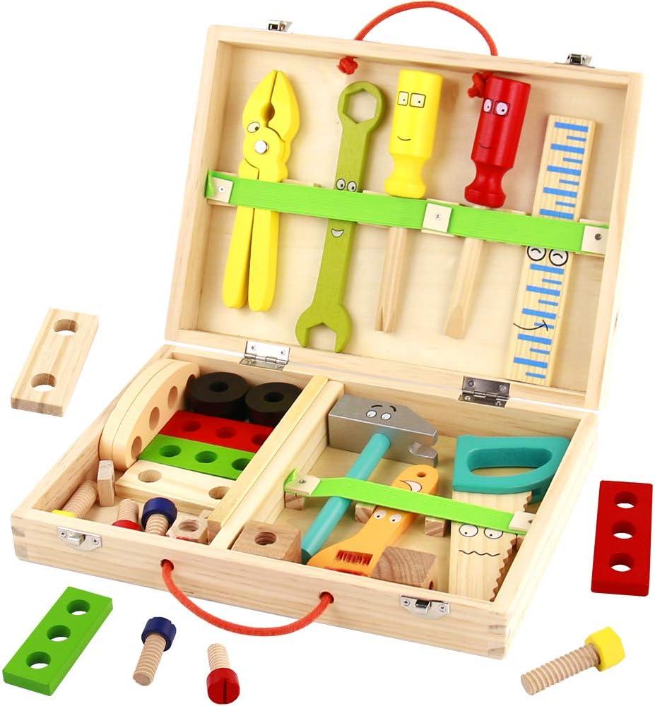 TONZE Caja Herramientas Juguetes de Madera para Niños 3 4 5 6 Años, 34 Piezas Bricolaje Madera Rompecabezas DIY Bloques Construcción Juego de Roles Juguetes Educativos