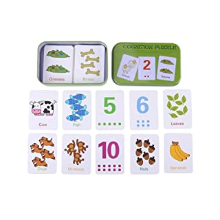 Flash Cards Early Learning Enlightment Giocattolo di Ferro con Scatola Adatto per Bambini Toddler Match Game Puzzle Cards