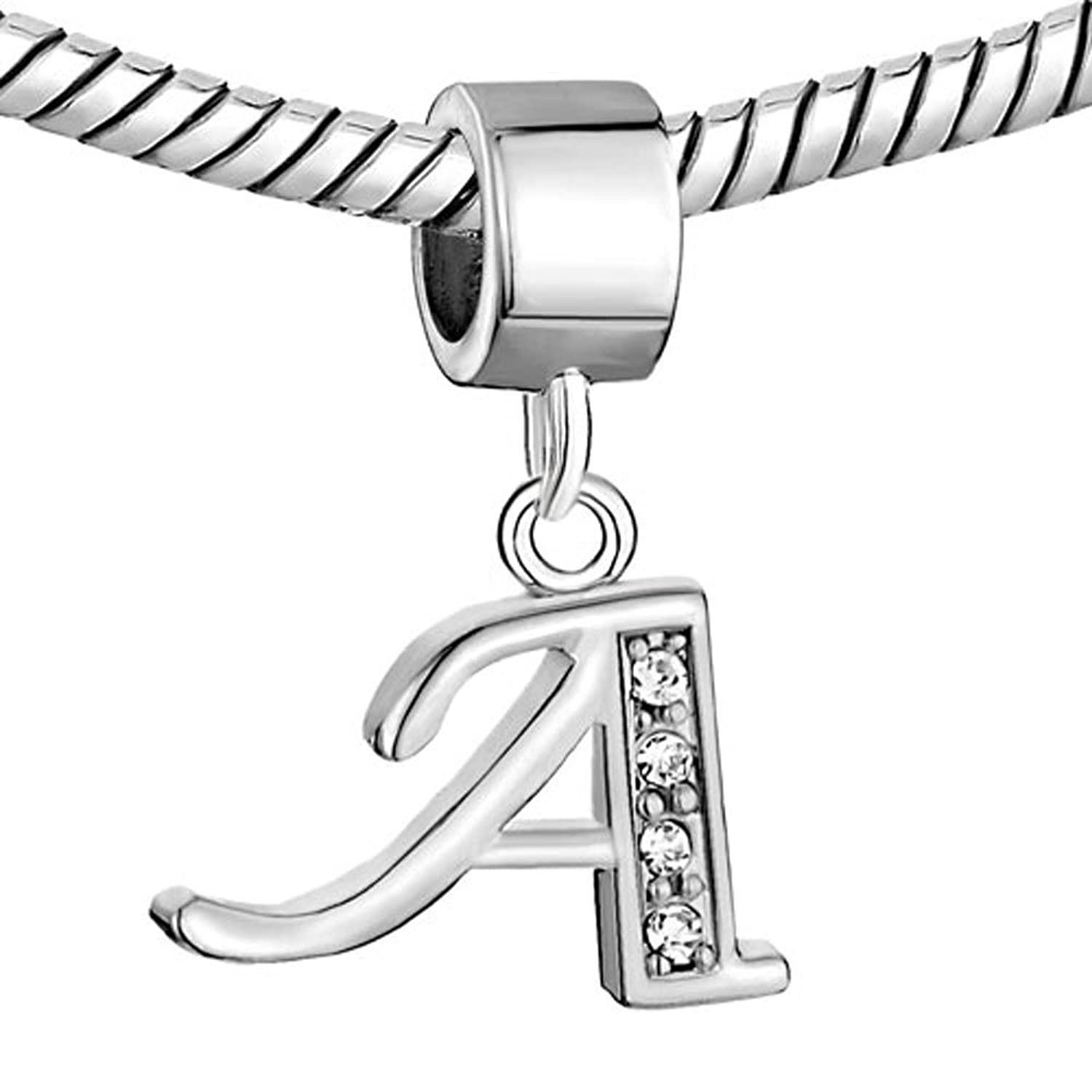 Amazon charmsstory alphabet letter a charms initial spacer amazon charmsstory alphabet letter a charms initial spacer dangle synthetic crystal beads charm for bracelets jewelry aloadofball Images