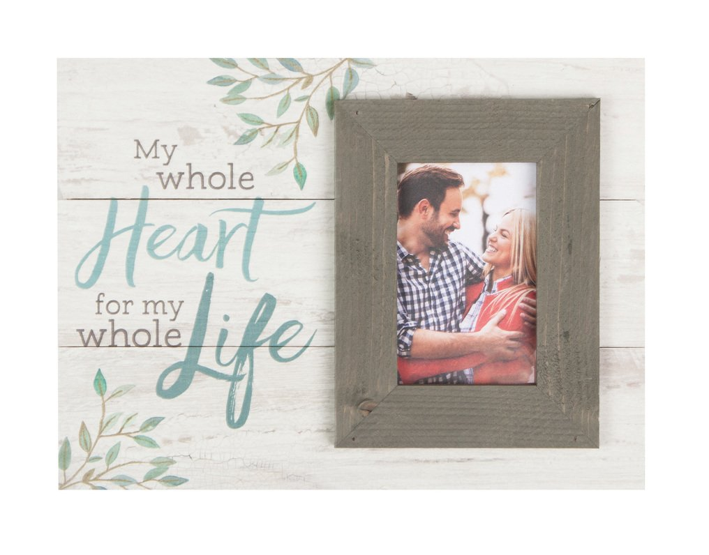 Whole Heart for Whole Life Whitewash 17.5 x 17 Wood Wall Hanging Photo Frame Plaque