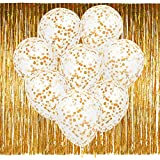 PAXCOO 20 Pcs 12 inch Gold Confetti Glitter Balloons with Foil Fringe Curtains for New Years Eve Party Decoration Birthday Decorations