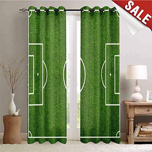 - Teen Room, Blackout Draperies for Bedroom, Soccer Field Grass Motif Stadium Game Match Winner Champion Sports Area, Thermal Insulating Blackout Curtain, W96 x L108 Inch Fern Green White