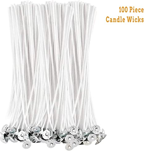 100Pcs 4-8inch Low Smoke Cotton Wick Core /& Stickers DIY Candle Making Supplies