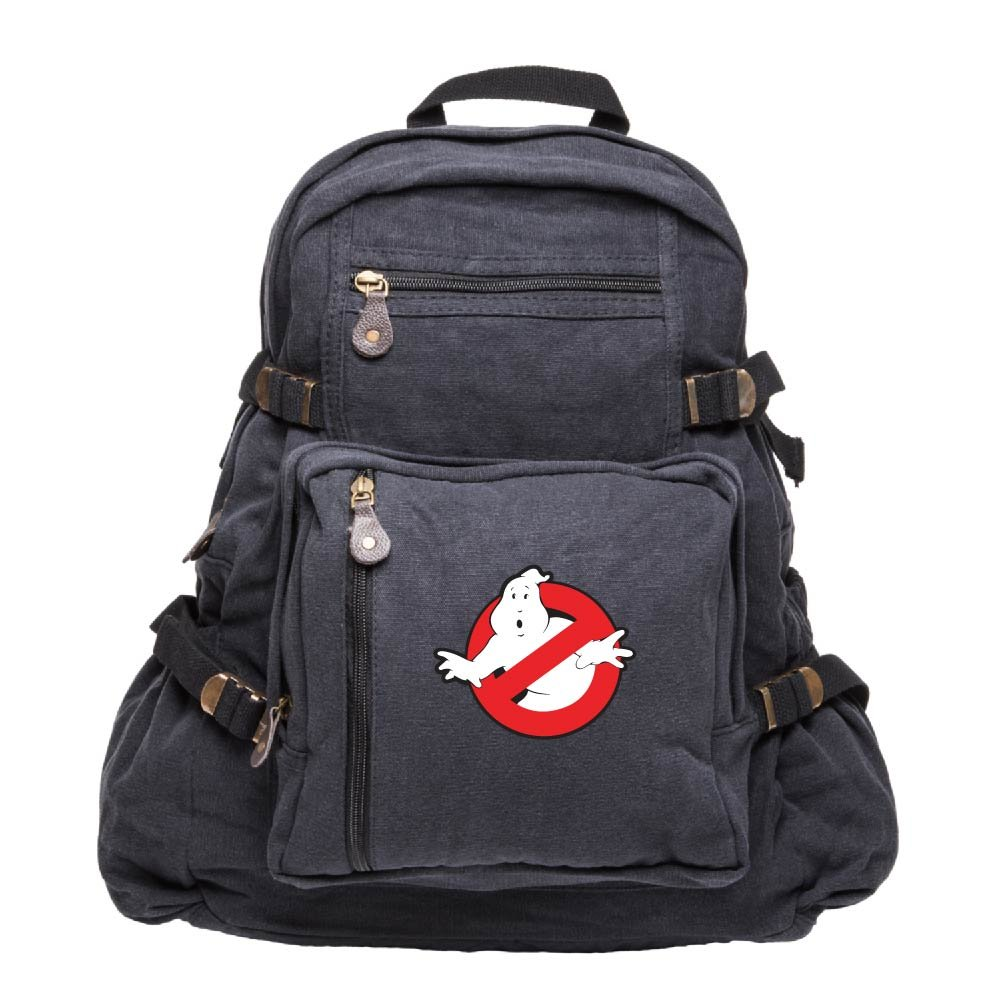 Ghostbusters Logo Army Sport Heavyweight Canvas Backpack Bag in Black, Large