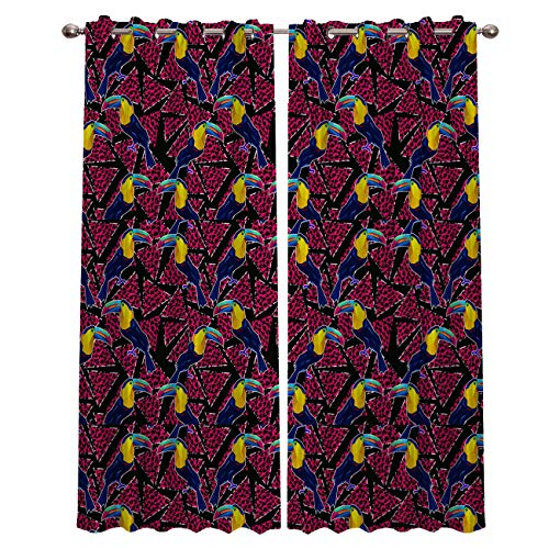 Darlicent Blackout Draperies Curtains Panels - Thermal Insulated Grommet Window Curtain Treatments for Living Room Bedroom Kitchen, Triangle Leopard Textured and Parrot (27.5 x 39 Inch, 2 ()