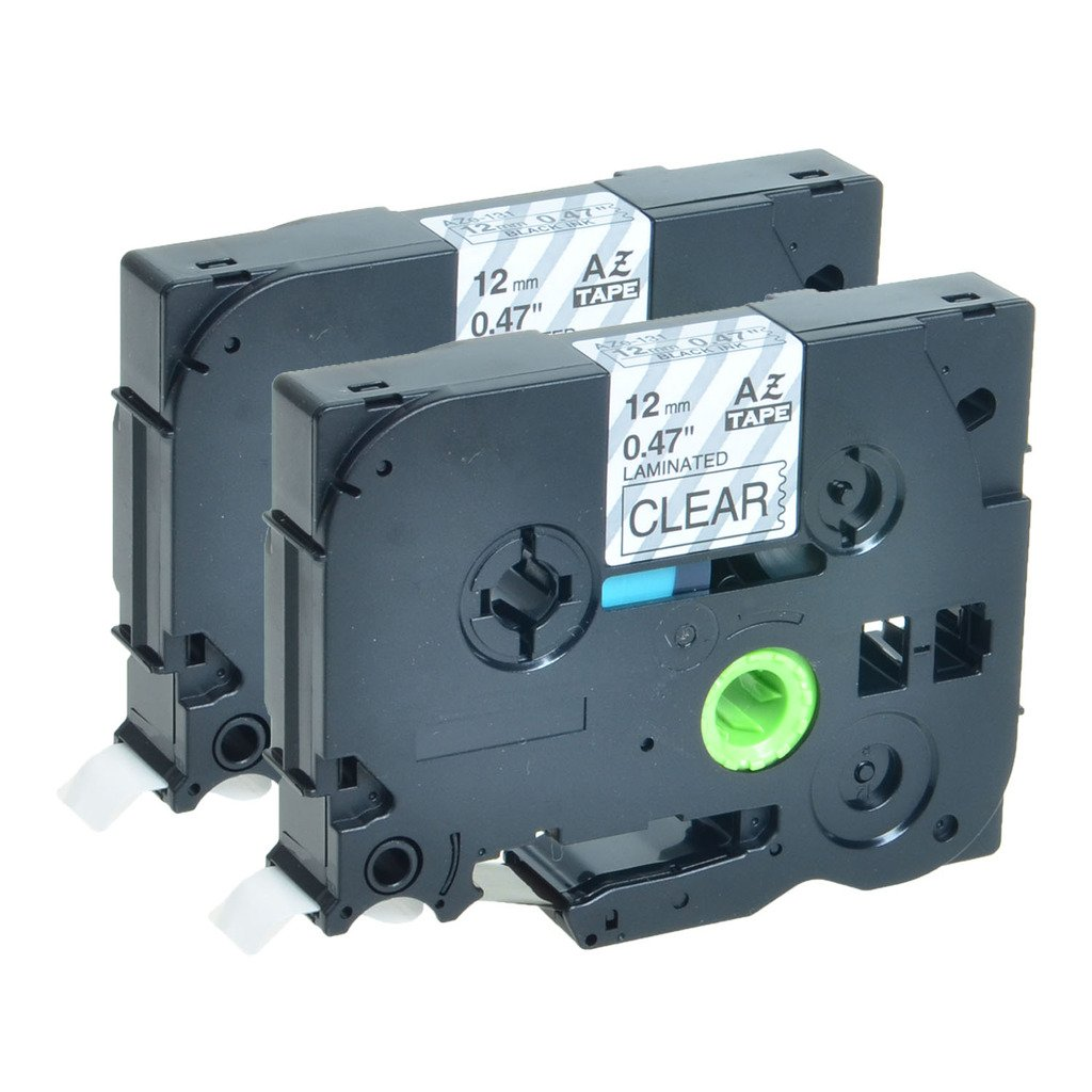 Greencycle 2 PK Black on Clear TZ131 TZE131 Label Tape Compatible for Brother P-Touch Printers PT1000 PT1100 Quicktoner