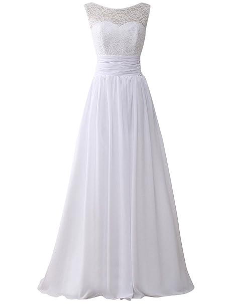 JAEDEN Mujer Gasa Vestido de Boda Largo Vestido de Novia Encaje Vestido de Fiesta Blanco EUR32