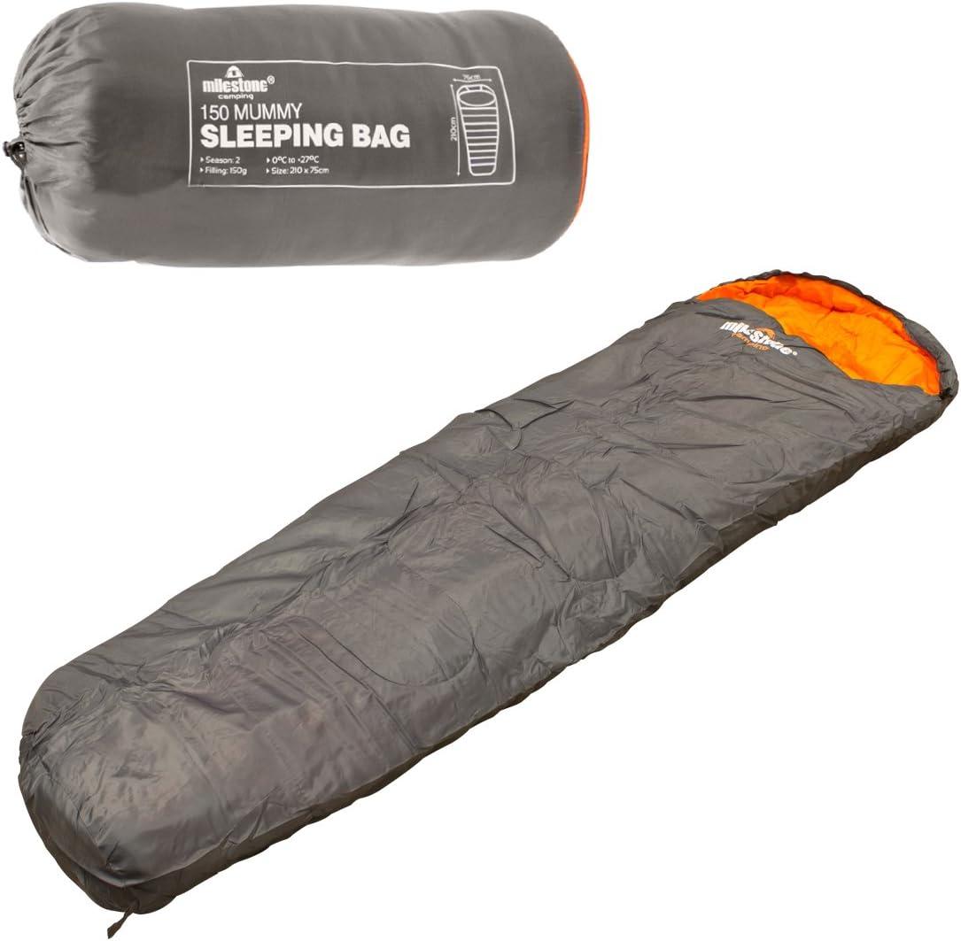 Dark Grey and Orange Milestone Camping Mummy Sleeping Bag