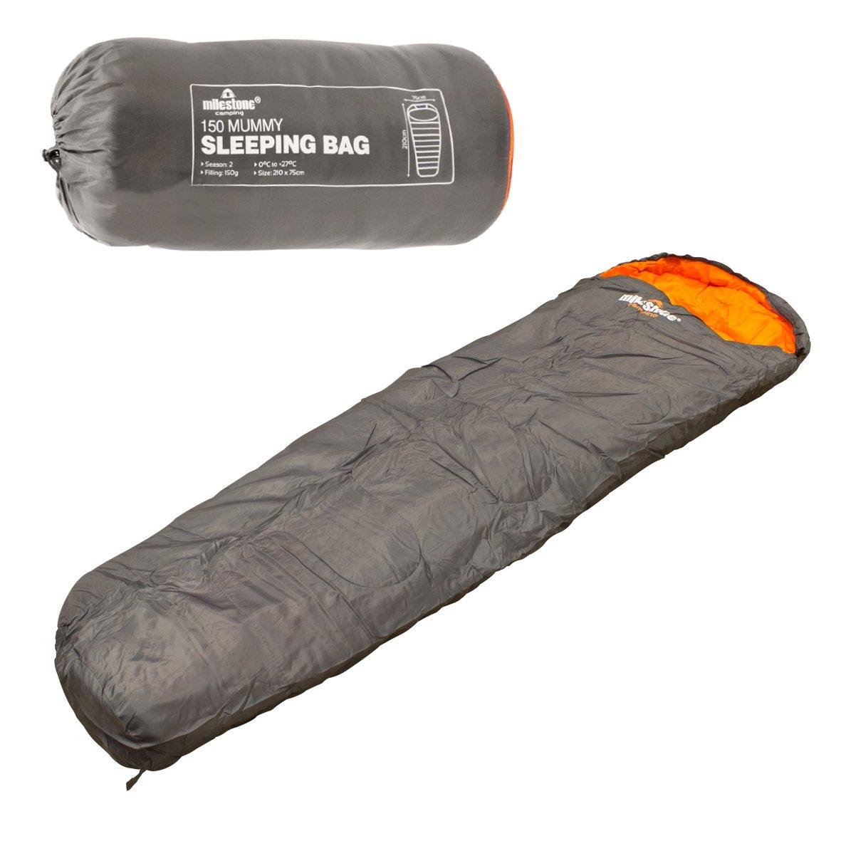 Milestone Camping - Saco de dormir momia para acampada, color gris oscuro [Dark Grey (Orange)]: Amazon.es: Deportes y aire libre